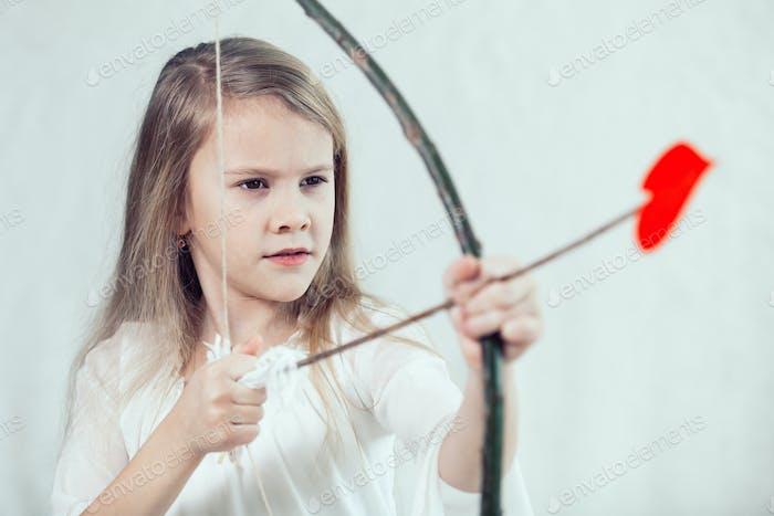 Portrait of one  beautiful  little girl.