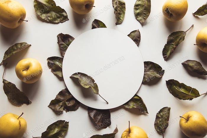 Gelbe Äpfel auf weißem Hintergrund mit alten Blättern, gesunde Lebensmittel, Landwirtschaft, Vegetarier