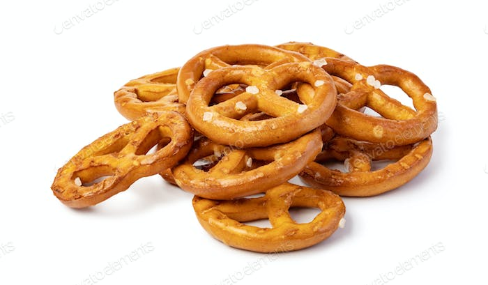 Salt Pretzels On White