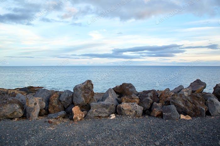 Volcanic stones and ocean