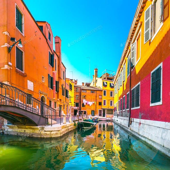 Venedig Stadtbild, Gebäude, Wasserkanal und Brücke. Italien