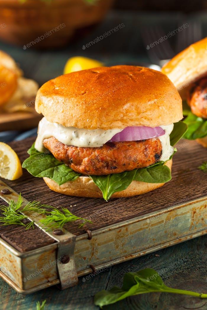 Homemade Salmon Burger with Tartar Sauce