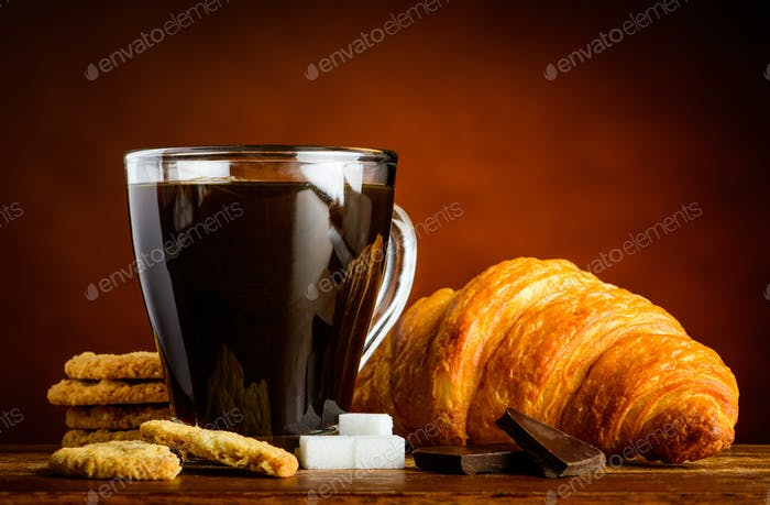 Coffee Cup with Croissant and Biscuits