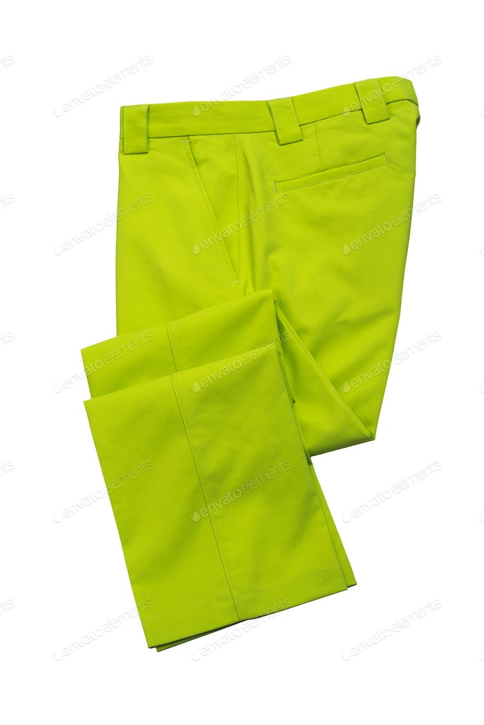 Green pants, trousers for man