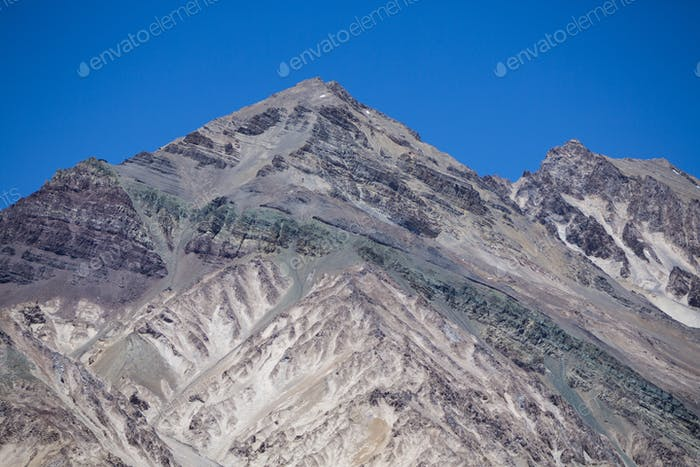 Aconcagua mountain peaks with clear blue sky. Argentina