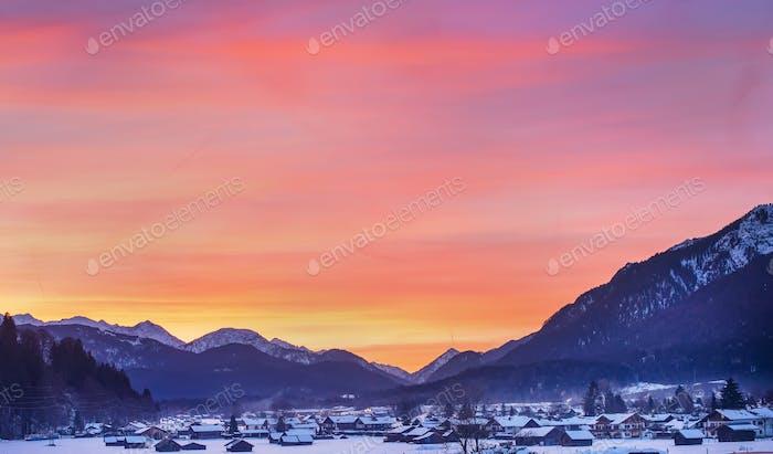 Colotful winter sunset in Garmisch-Partenkirchen in Bavarian Alp