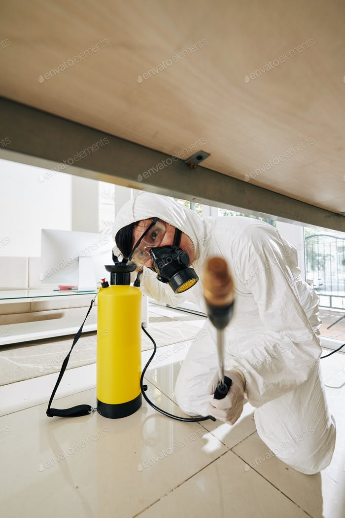 Worker spraying every corner with disinfectant