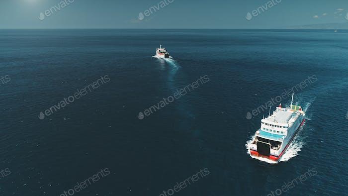 Aerial Drone Flight: Two Ferrys sailing in ocean