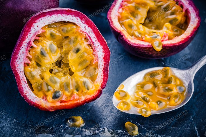 ripe organic passion fruit closeup