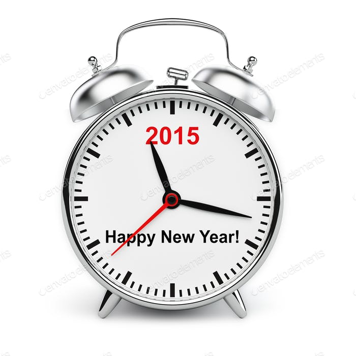 Year 2015 classic alarm clock isolated