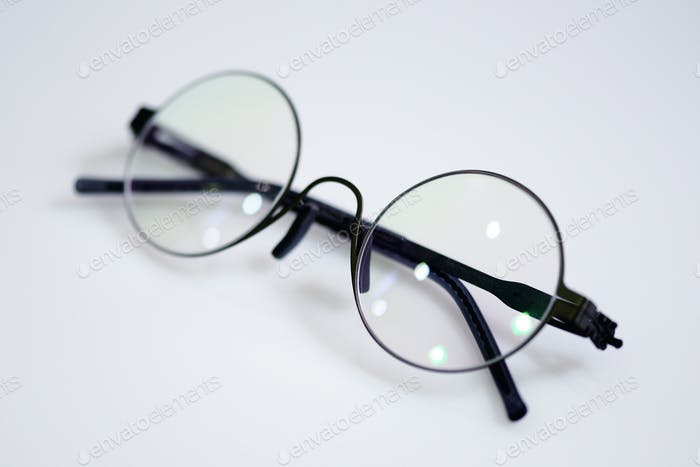 Circle glasses on the white background