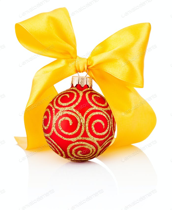 Red Christmas decoration bauble with yellow ribbon bow isolated