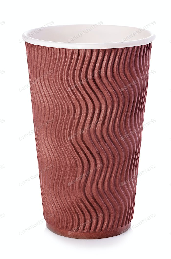 Brown paper cup of coffee or tea close-up isolated on white background.
