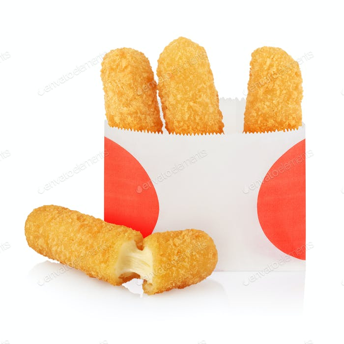Deep fried cheese sticks in paper bag isolated