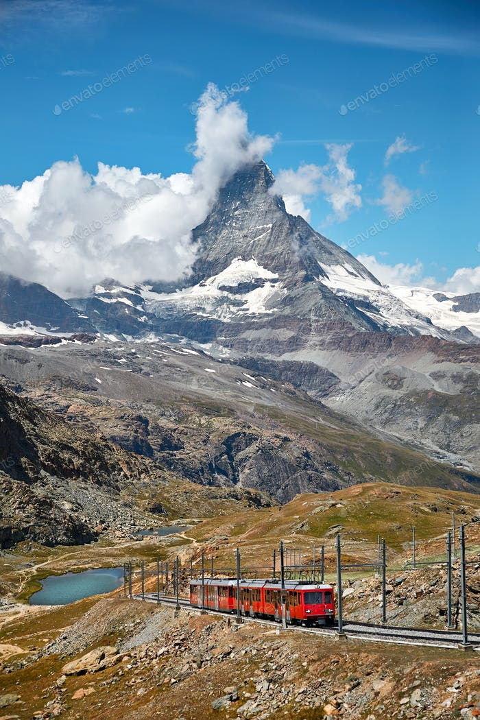 Landscape of Matterhorn mountain with railway, swiss Alps