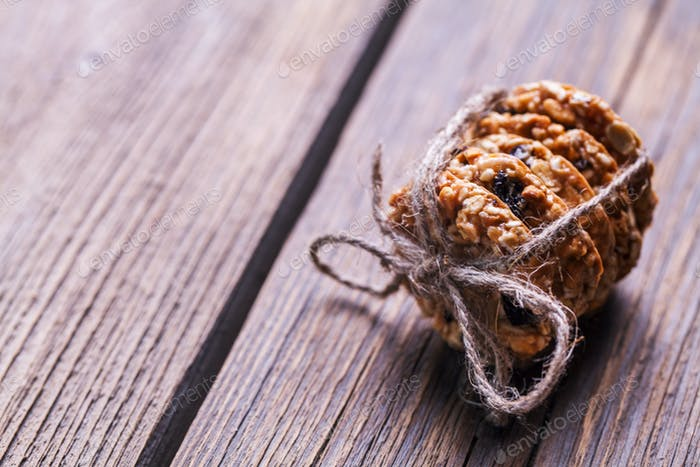 cookies with chocolate on a wooden background. pastries, sweets, snack, food