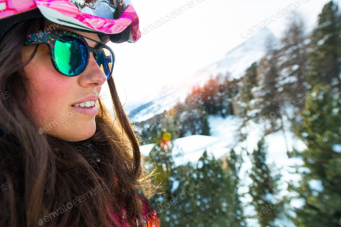Portrait of a young girl in ski vacation