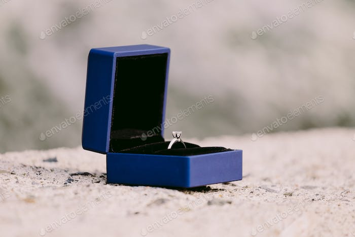 engagement ring in box close up