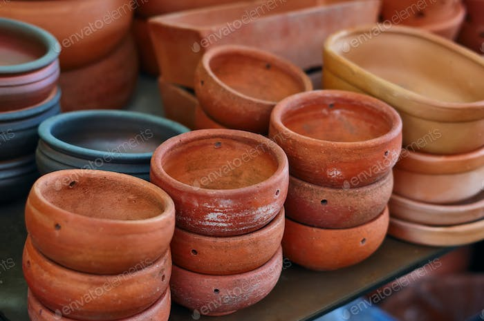 Lots of clay pot in the gardening shop