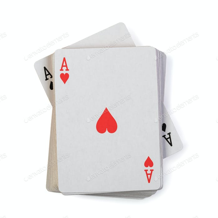 playing cards on white background