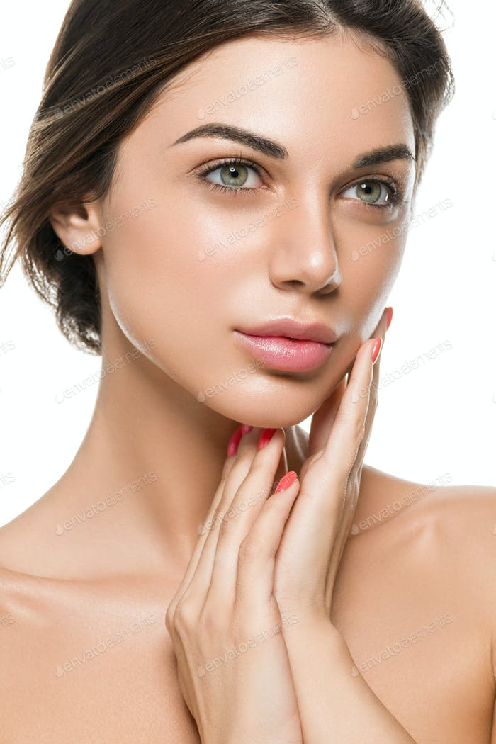 Brunette healthy skin girl woman close up face beauty shine. Isolated on white.