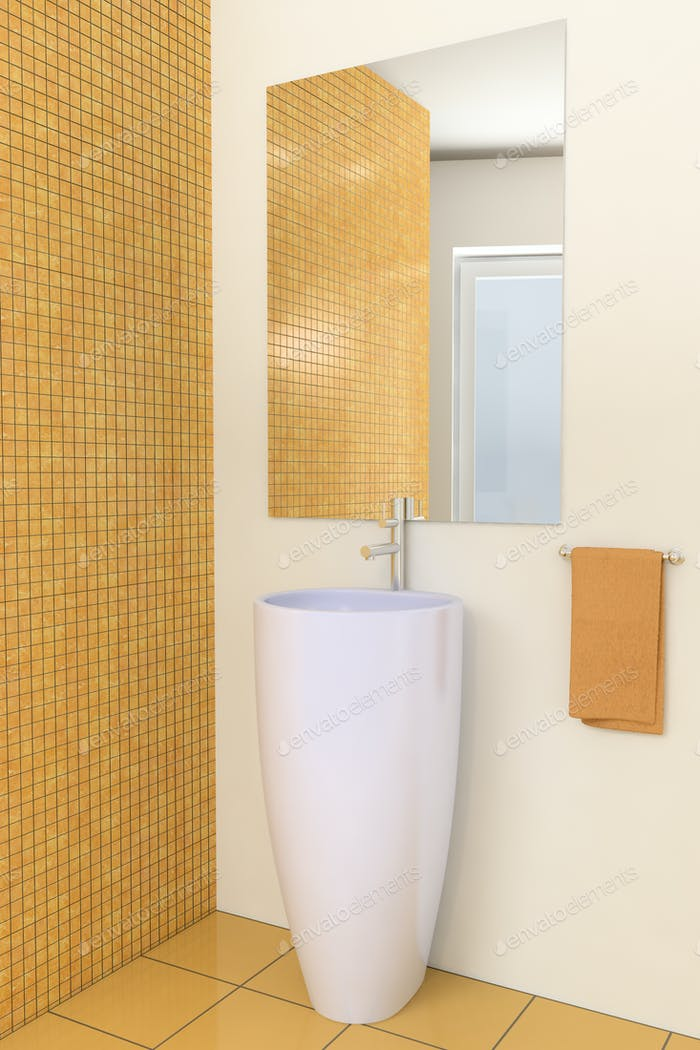 modern bathroom with brown tiles on wall
