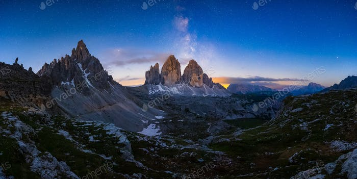 Mliky way over the Tre Cime, Alps Mountain, Dolomites, Italy