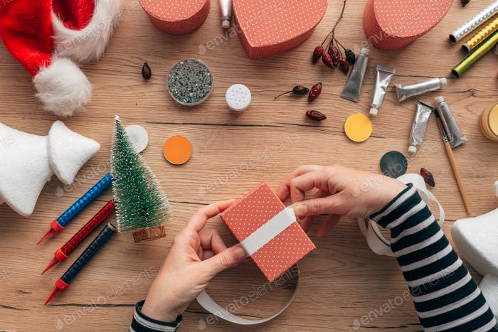 Creative diy craft hobby, making Christmas gift presents