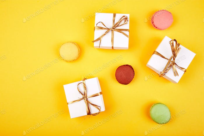 Sweet Dessert Macaron or macaroon, colorful almond cookies,