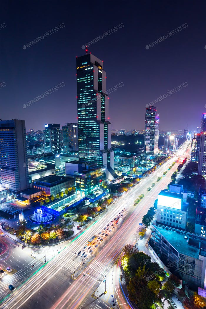Gangnam District in Seoul city at night