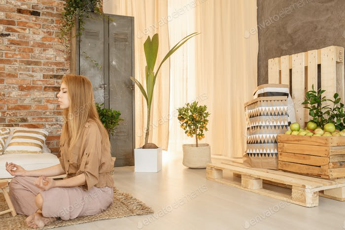 Woman in zen area