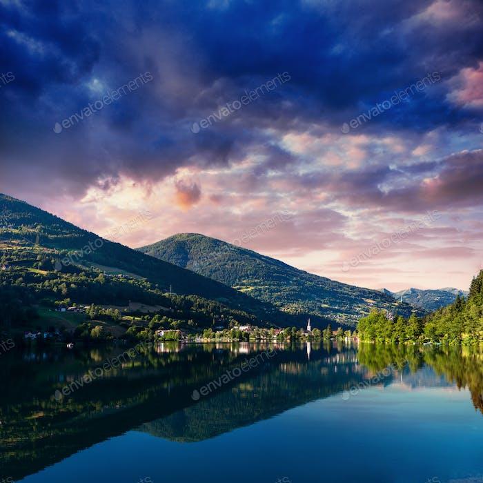 Mountain Lake in the Alpine mountains Italy
