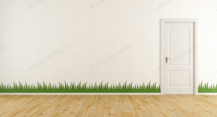 White room with closed door and grass