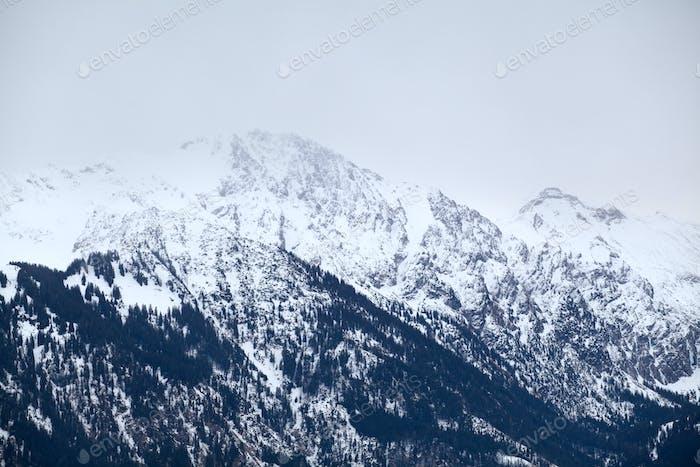 alpine peaks in winter