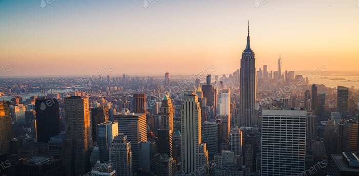 Manhattan Skyline at Sunset, New York City, United States of Ame