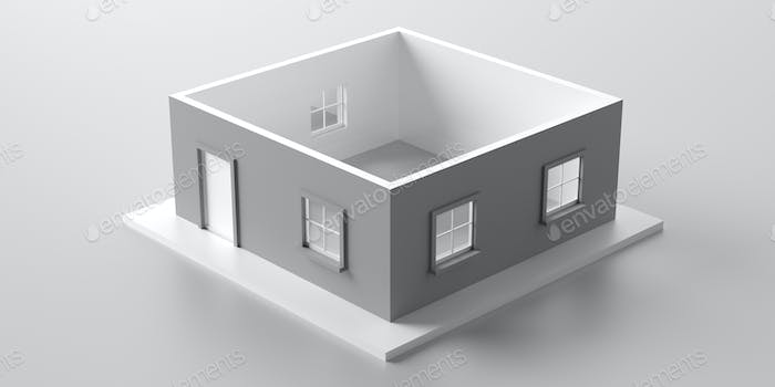 House model roofless isolated against white background. 3d illustration