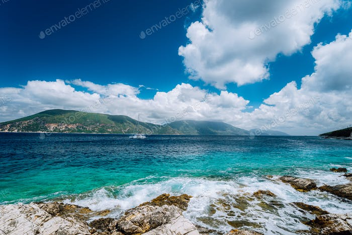 Beautiful cloudscape near Fiskardo, Kefalonia, Ionian islands, Greece. Crystal clear transparent