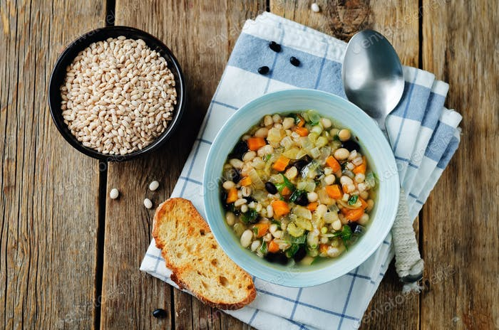 Barley white and balck beans vegetable soup
