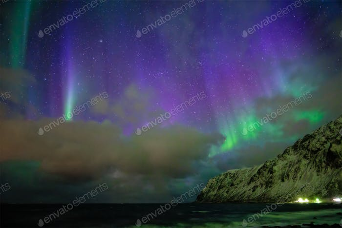 Aurora borealis northern lights. Lofoten islands, Norway