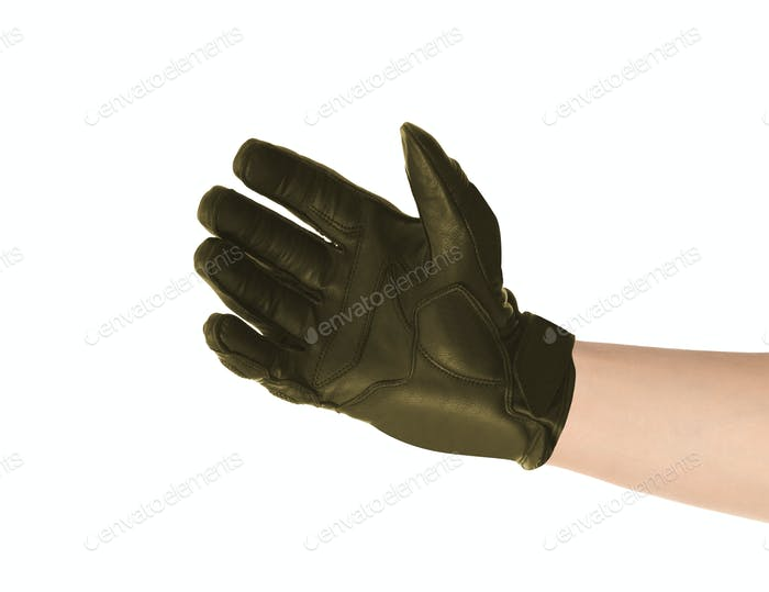 Men's leather gloves isolated on white