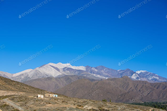 Andean mountain and blue sky Cachi, Ruta 40, Salta, Argentina