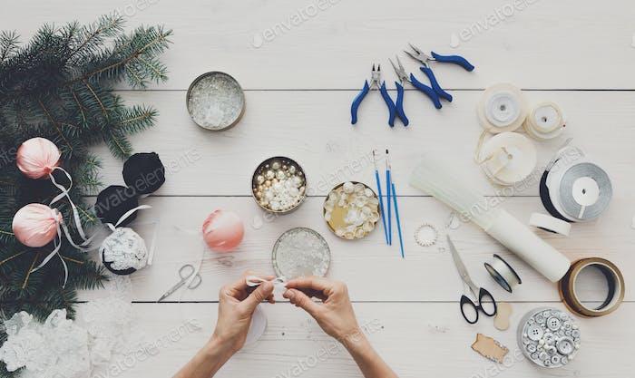 Creative diy hobby. Handmade christmas decoration, balls and gar