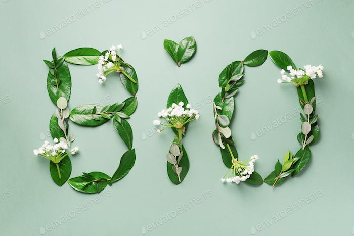 Word Bio made of leaves, branches, flowers on green background. Top view. Flat lay. Ecology, eco