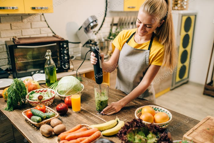 Female person cooking, mixing healthy organic food