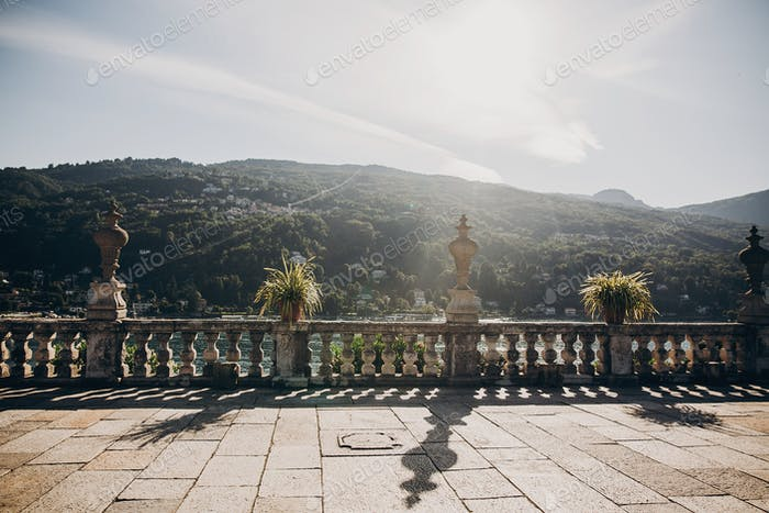 Beautiful view of stone landmarks and terrace on mountain