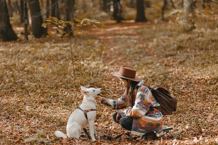 Stylish woman caressing adorable white dog in sunny autumn woods. Cute swiss shepherd puppy