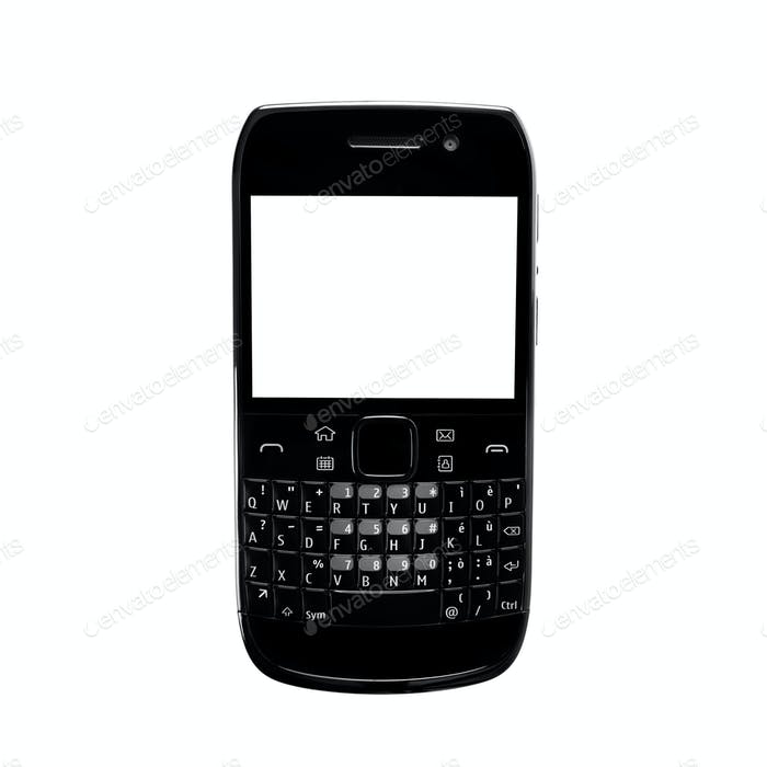 Smartphone white screen qwerty keypad isolated. Black color.