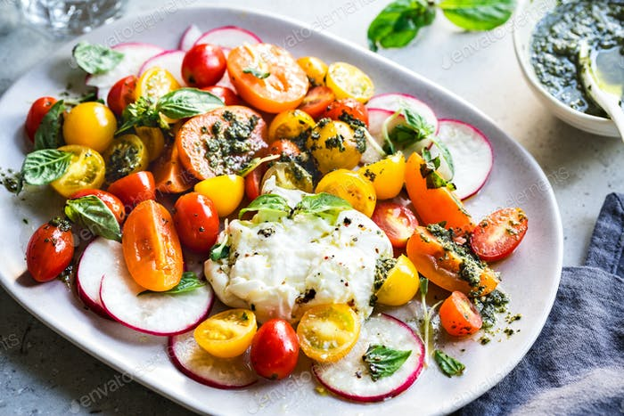 Burrata with Colourful Cherry Tomato and Pesto Salad