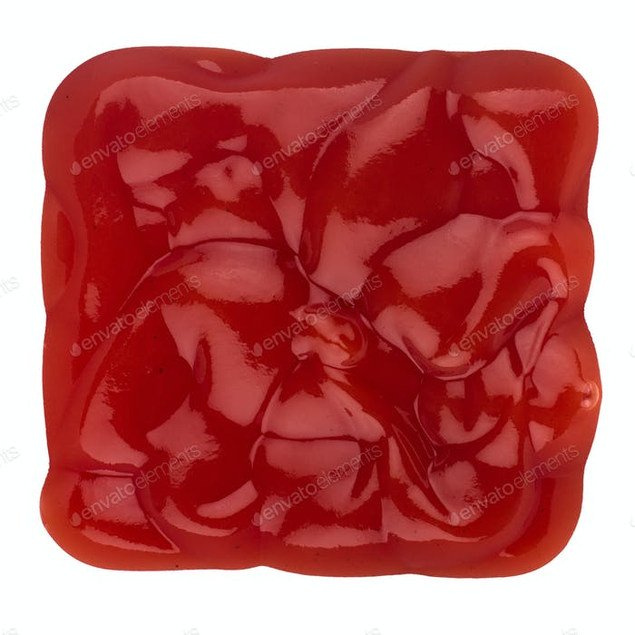 square shape of tomato sauce on white