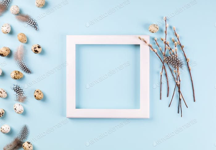Easter composition quail eggs, photo frame .Greeting card